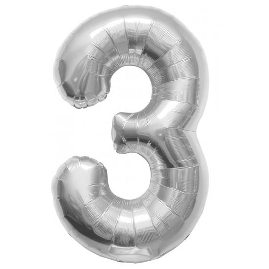 3 jaar helium ballon zilver
