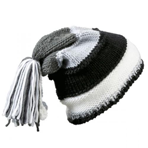 Beanie muts zwart  grijs en wit