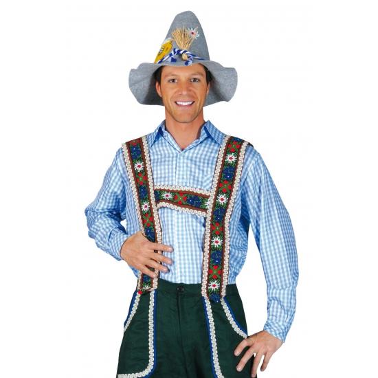 Blauw geruit Tiroler overhemd voor heren