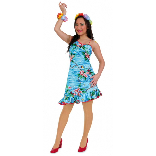 Blauw hawaii dames jurkje