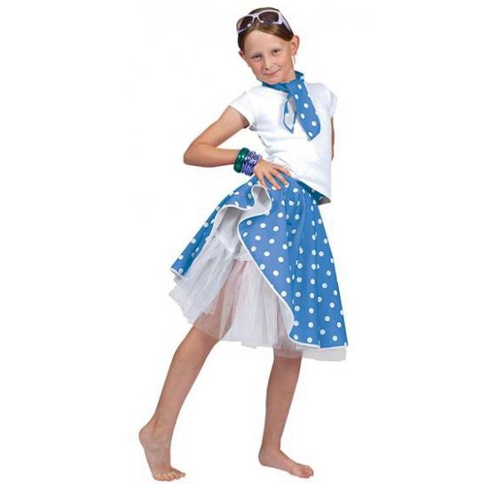 Blauwe fifties rok voor meiden