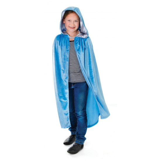 Blauwe kindercape met capuchon