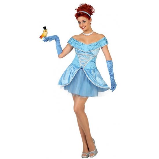 Blauwe prinsessen jurk voor dames