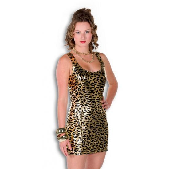 Bling jurkje goud panther print