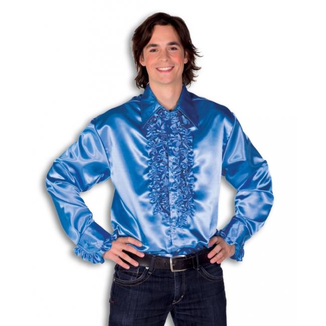 Blouse blauw met rouches heren