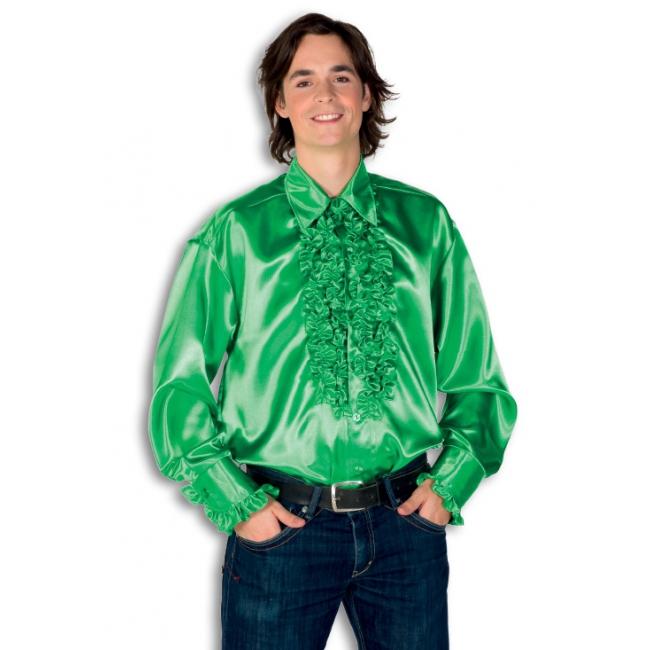 Blouse groen met rouches heren