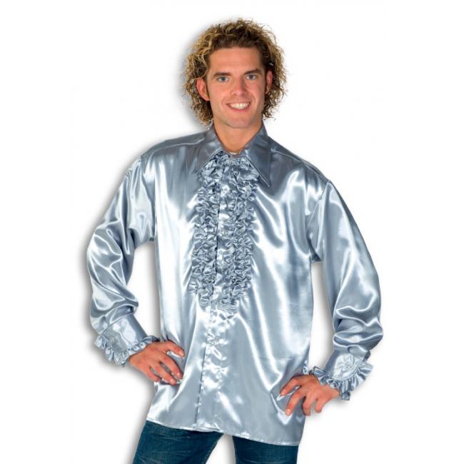 Blouse zilver met rouches heren