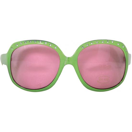 Carnaval brillen groen met roze glazen