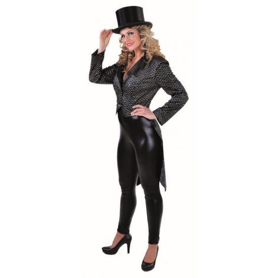 Carnaval dames slipjas zwart/zilver