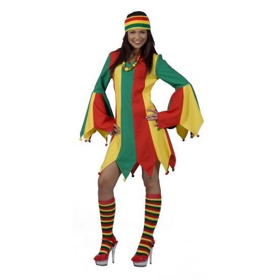 Carnaval jurkje geel rood en groen