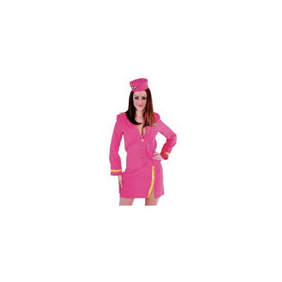 Carnaval Stewardess pakje roze