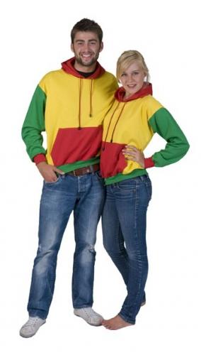 Carnaval sweater rood, geel en groen