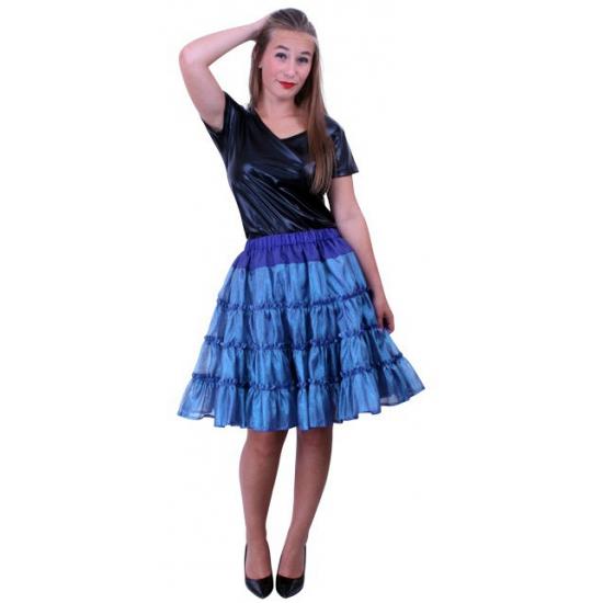 Carnavals petticoat blauw 5 laags