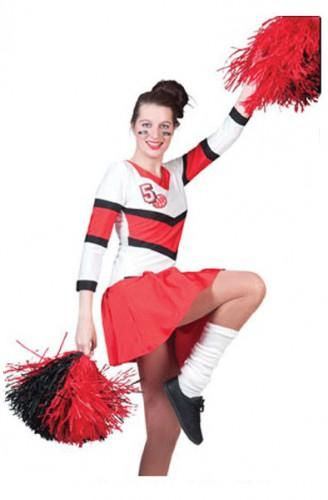 Cheerleader jurkje rood en wit