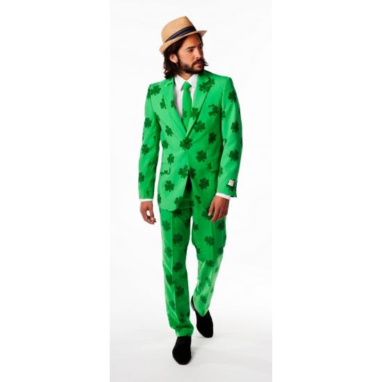 Compleet heren kostuum met klaver print