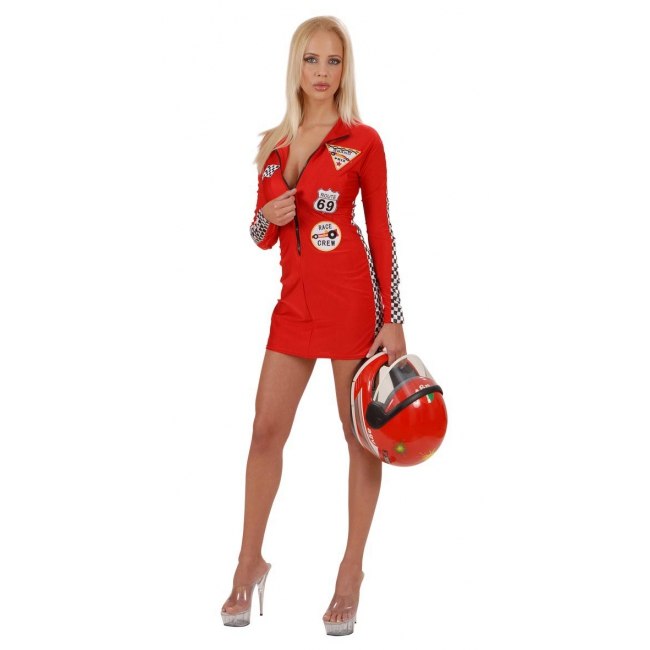 Dames autocoureur jurkje rood