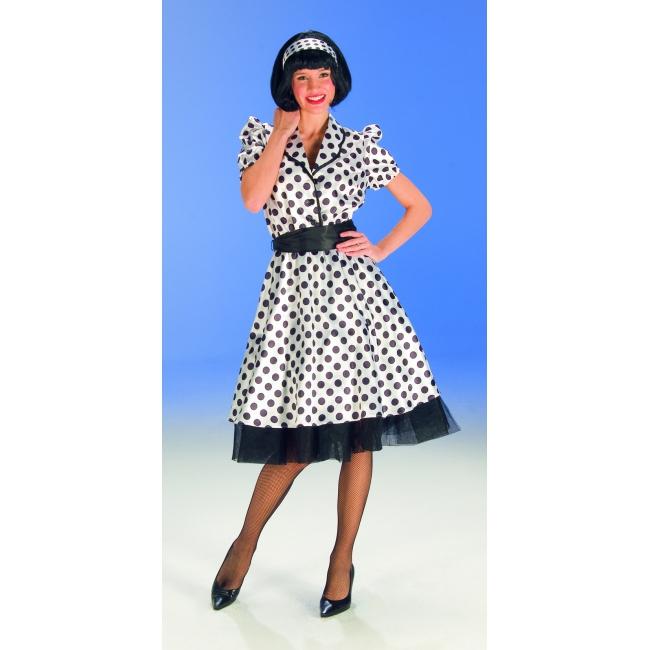 Dames jurk met stippen zwart wit