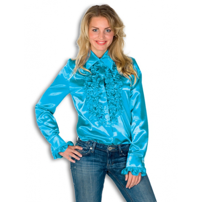 Dames overhemd blauw met rouches
