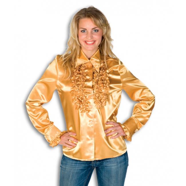 Dames overhemd goud met rouches
