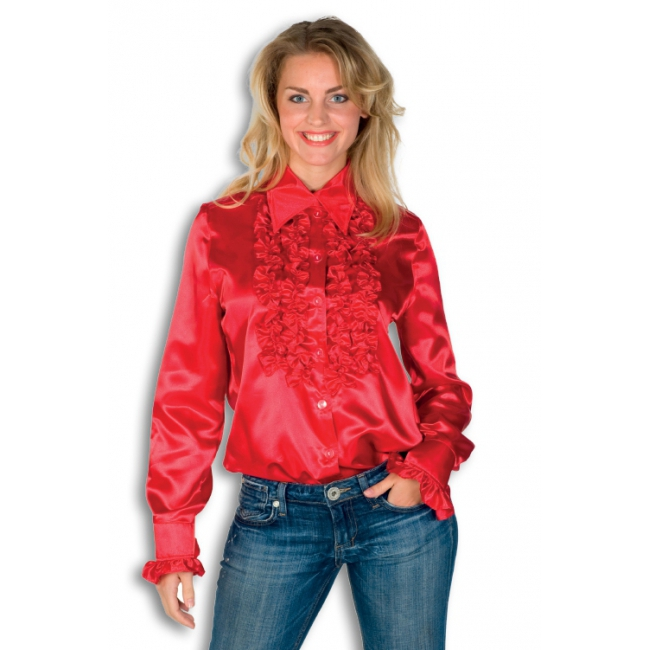 Dames overhemd rood met rouches