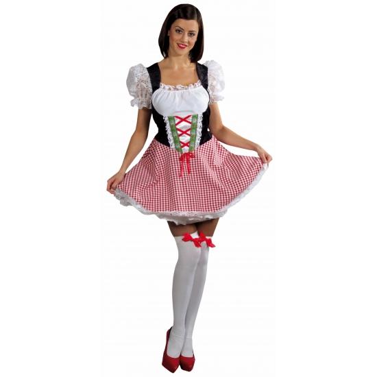 Dames rood met zwart Tiroler verkleedjurkje