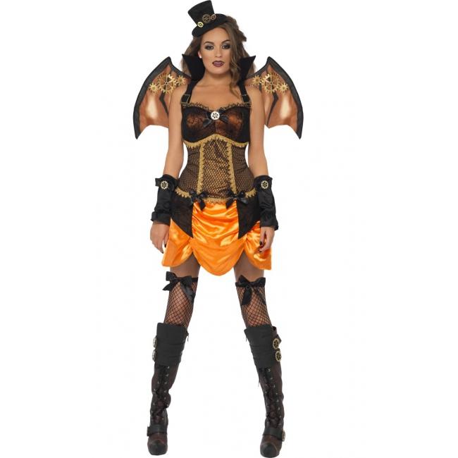 Dames steampunk vleermuis verkleedkleding