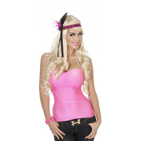 Dames verkleed top neon roze