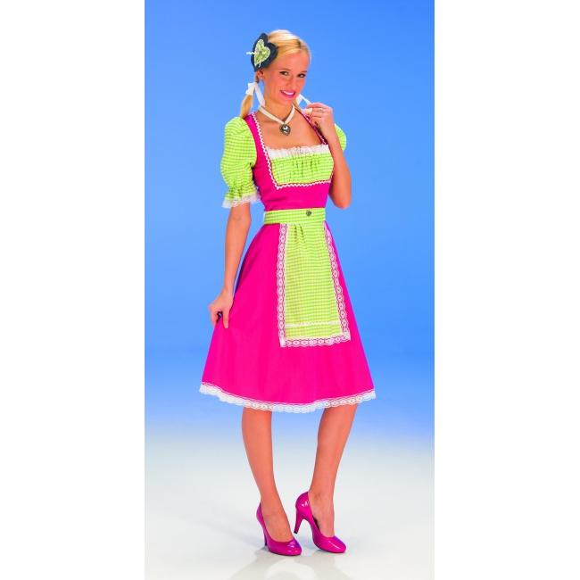 Dirndl jurk fel roze met groene ruitjes