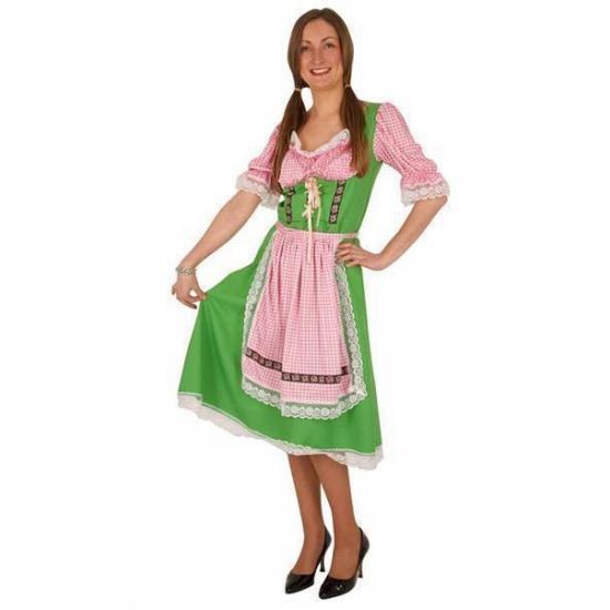 Dirndl jurk voor dames groen met roze