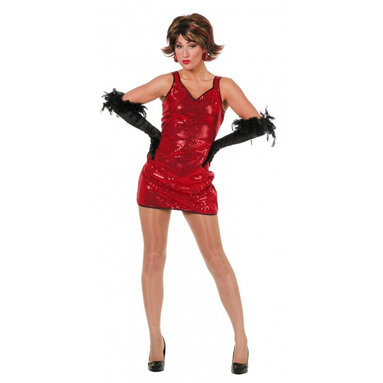 Disco jurkje rood met pailletten