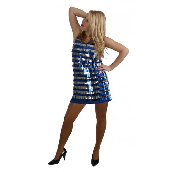 Disco outfit kort blauw en zilver met pailletten