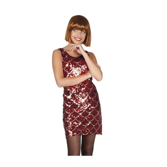 Disco outfit rood en zilver met pailletten
