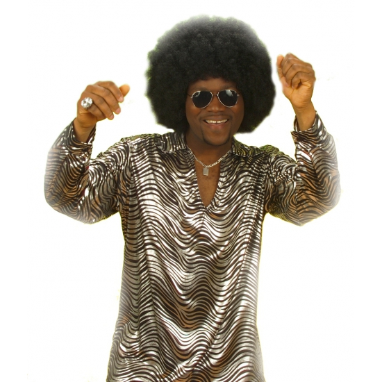 Disco shirt zilver voor mannen