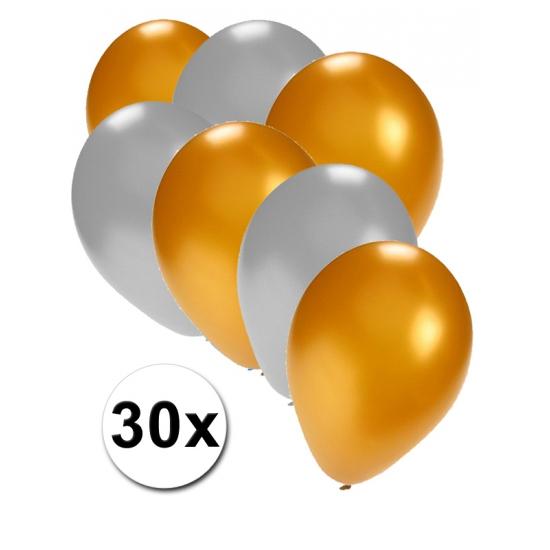 Feest ballonnen goud en zilver 30x