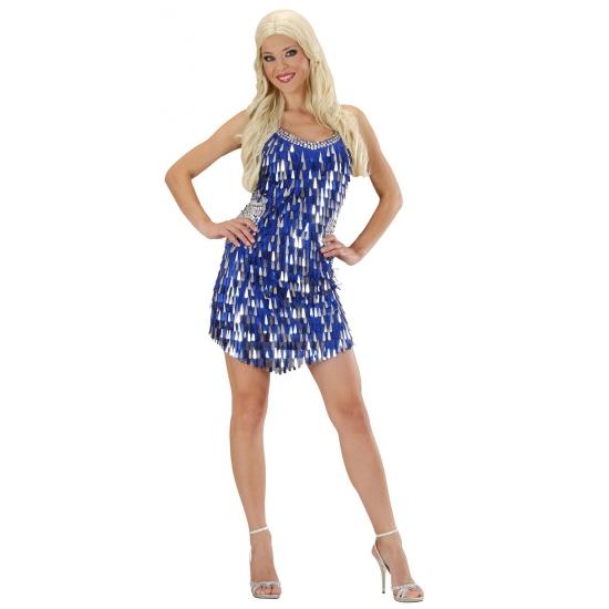 Feestkleding pailletten jurk blauw zilver