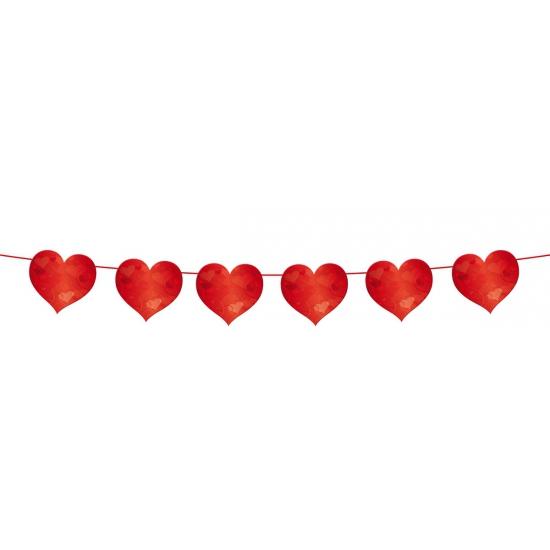 Feestslinger met rode hartjes