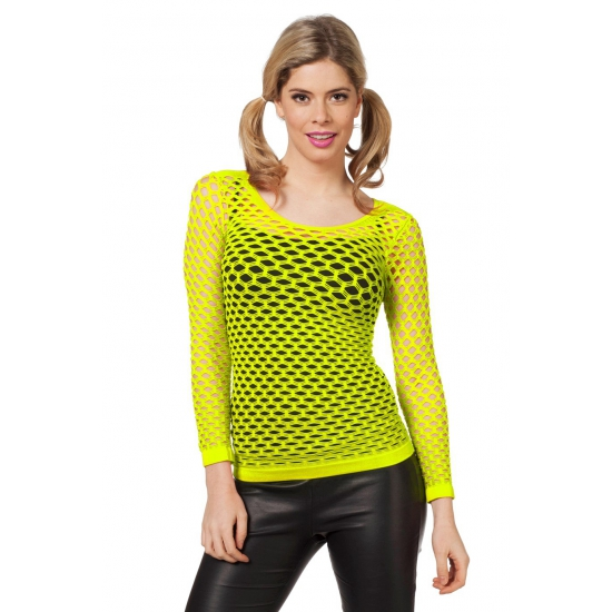 Fel geel t shirt met gaatjes
