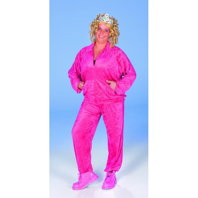 Fuchsia roze dames kostuum fluweel look