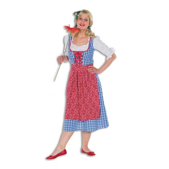Geblokte lange Tiroler dames jurk
