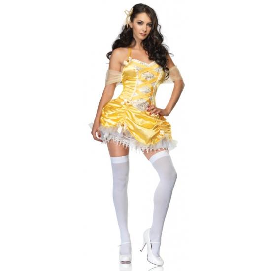Geel halter jurkje met rouches
