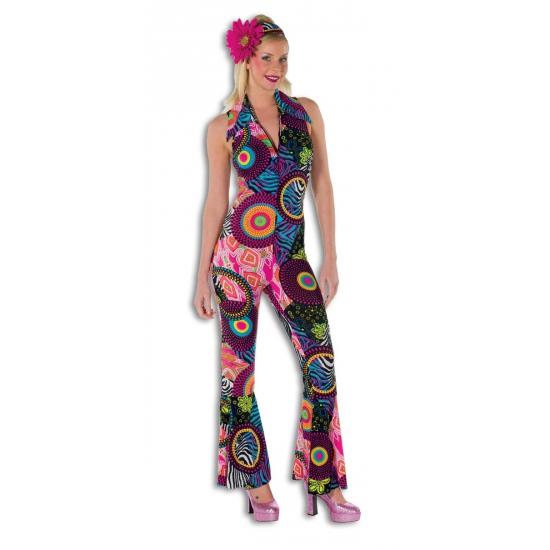Gekleurde disco jumpsuit vrouwen