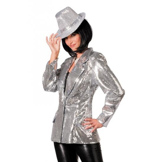 Glitter colbert zilver dames