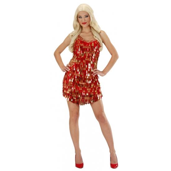 Glitter jurkje rood met goud