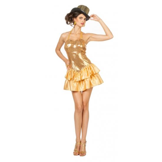 Goud jurkje met pailletten voor dames