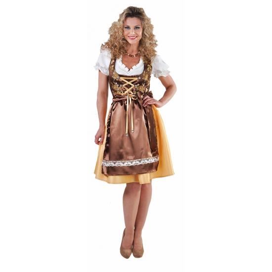 Gouden dirndl jurkje met lang schort