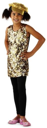 Gouden glitter pailletten jurkje voor meisjes