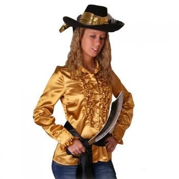 Gouden piraten ruches shirt voor dames