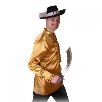 Gouden piraten ruches shirt voor heren