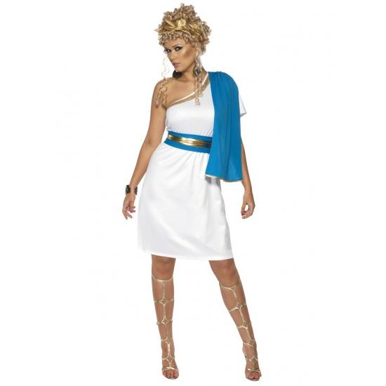 Griekse jurk blauw met wit