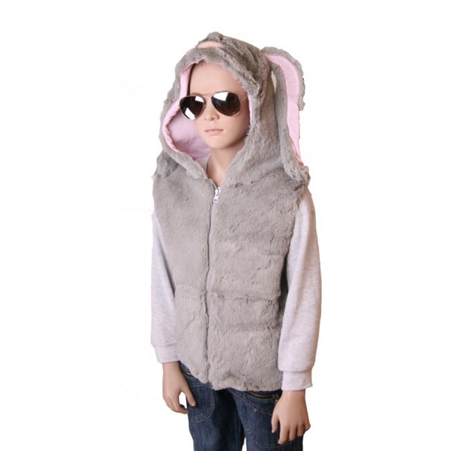 Grijs mouwloos vestje in de vorm van een konijn
